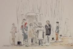 Thomas Engelhard zeichnet seinen Einderuck vom Baumschnitt-Kurs